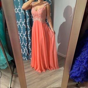 NWT Tiffany Designs coral prom or pageant gown